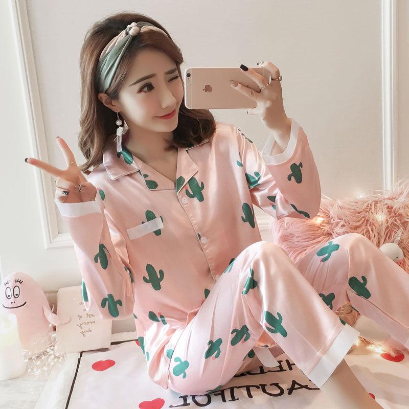 Autumn & Winter Pajamas Long Sleeve Women's Imitated Silk Fabric Korean-style Sweet Cactus Fold-down Collar Cardigan Trousers Ho