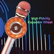 USB ev hoparlörler parti ışık ile el hediye Karaoke mikrofon şarkı taşınabilir şarj edilebilir çocuk yetişkin kablosuz bluetooth