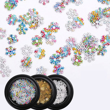 1box Christmas Gold Glitter Nail Art Snowflake Flakes Slice Sequins Mixed Decals DIY 3D Manicure Decorations
