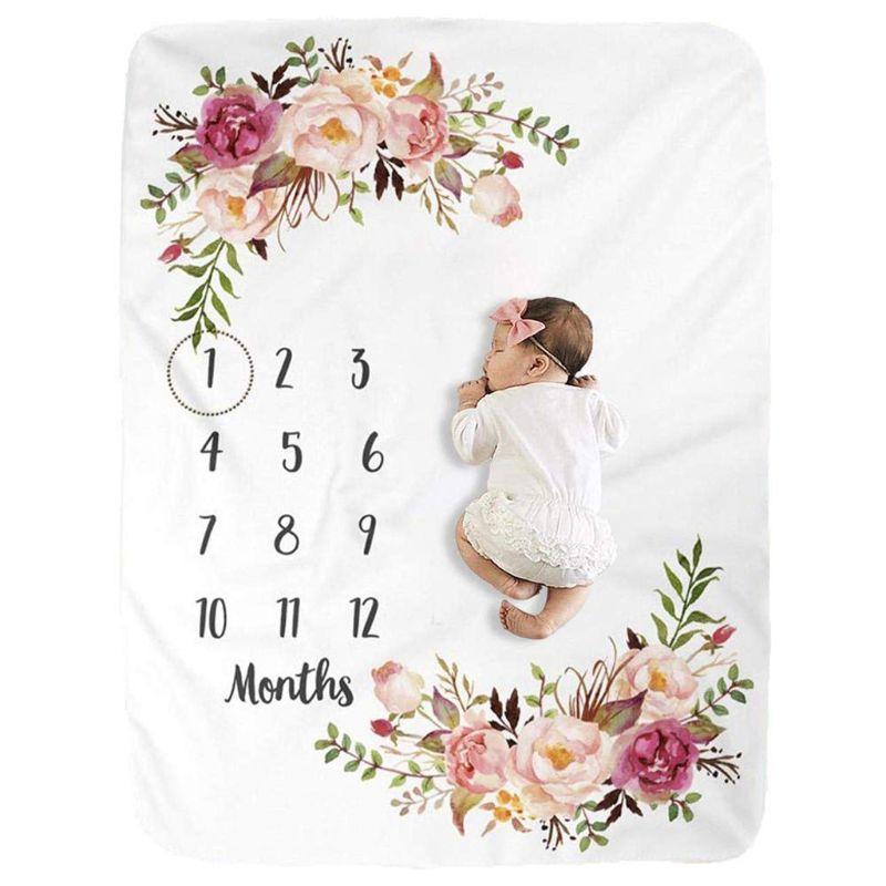 2021 Baby Milestone Decke Flanell Newborn Foto Prop Hintergrund mit Monatlichen Wachstum Diagramm für Mädchen und Jungen