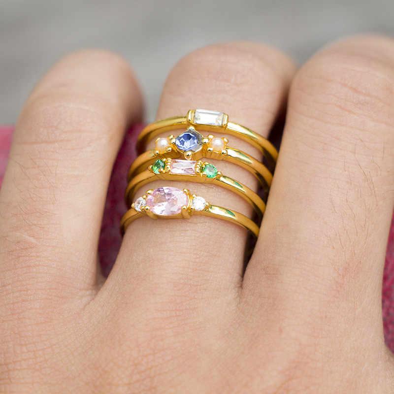 Набор колец из циркония Женский, Ювелирное Украшение с золотым перстнем в винтажном стиле, винтажные кольца с розовым кристаллом, свадебные обещания Ri, 4 шт.
