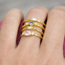 4 pçs cor zircon anéis conjunto para jóias femininas anel de dedo dourado feminino vintage rosa cristal anéis para mulher promessa de casamento ri