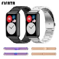 FIFATA Metall Strap Ersatz Handgelenk Band Für Huawei Uhr Fit Edelstahl Armband Uhrenarmbänder Für Huawei Fit Zubehör