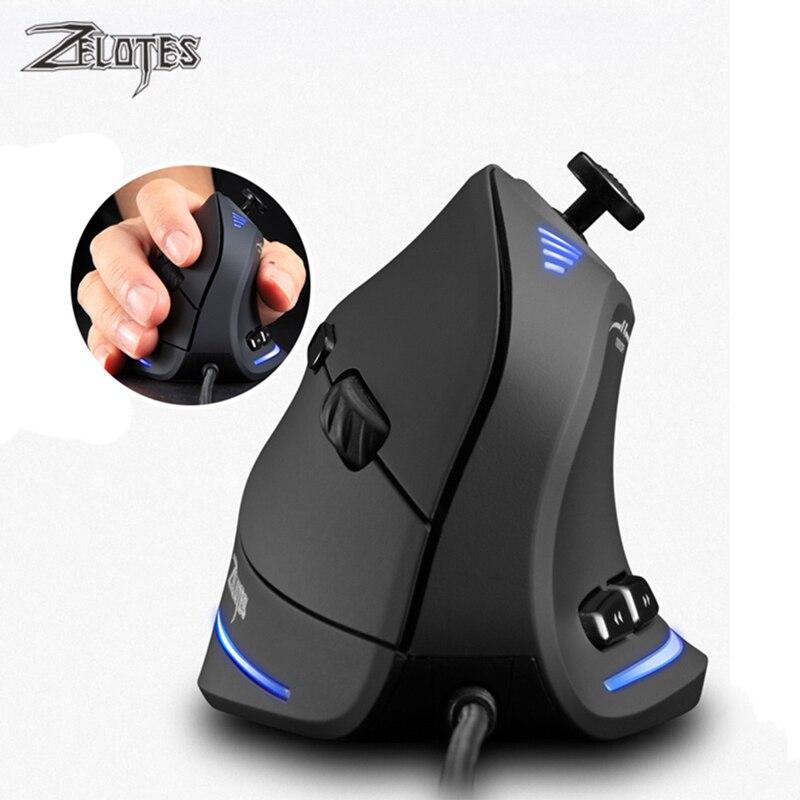 Игровая Вертикальная мышь ZELOTES, программируемая игровая мышь 10000 DPI с 11 кнопками и USB, Проводная оптическая мышь RGB с дистанционным управление...