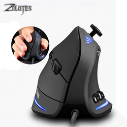 ZELOTES C-18 pionowa mysz do gier 10000 DPI programowalna 11 przycisków USB przewodowa mysz optyczna RGB mysz dla gracza na laptopa