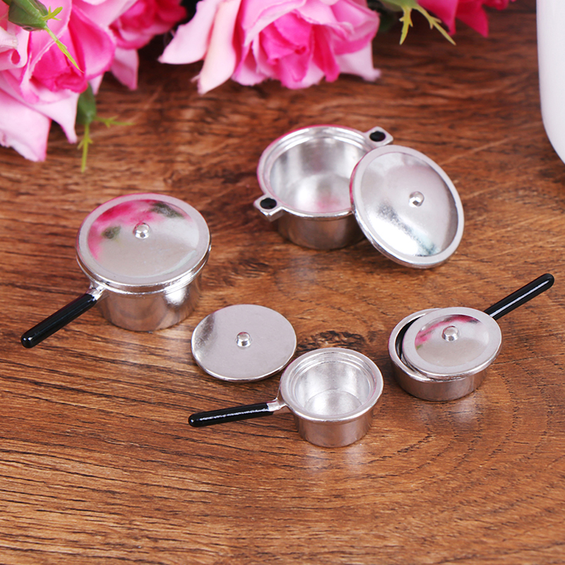 4Pcs 1:12 Mini Metal pots and pans Mini Simulation Kitchen Decoration Miniature Silver Soup Pan Dollhouse Miniature Accessories image