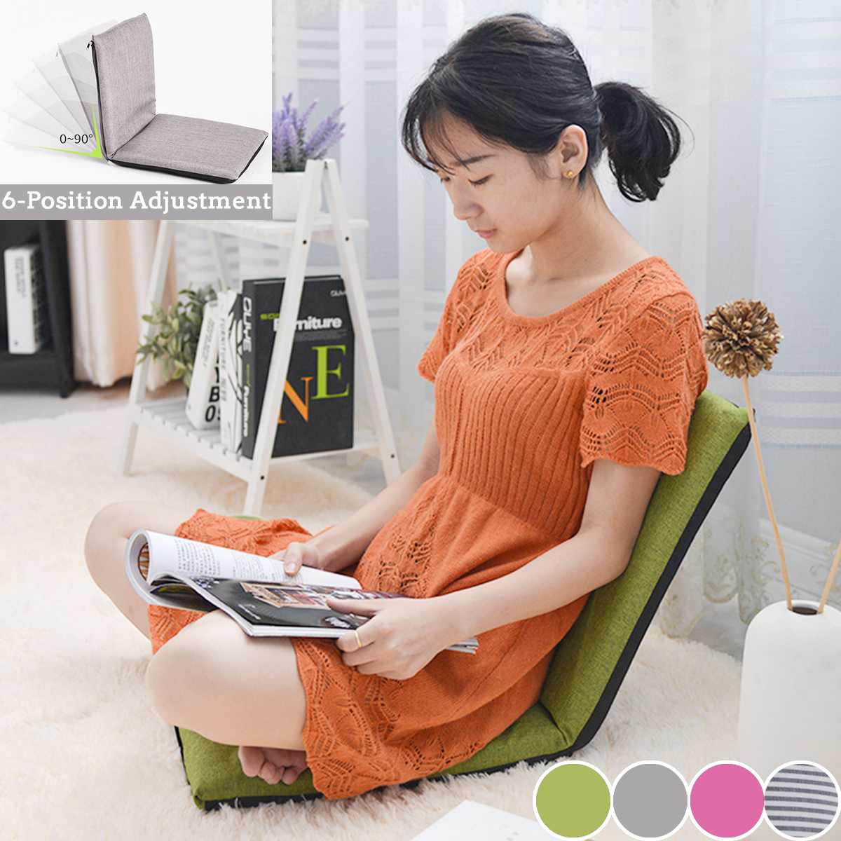 Foldable Lounge Chair Adjustable Relaxing Lazy Sofa Floor Seat Cushion Lounger Single-person Folding Bed Small Sofa Back Chair