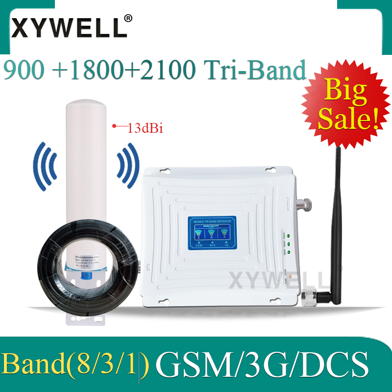 900/1800/2100 Tri-Band 4G Signal Booster 900/1800/2100mhz 2G 3G 4G Mobile Network Cellular Amplifier GSM Repeater 2G 3G 4G