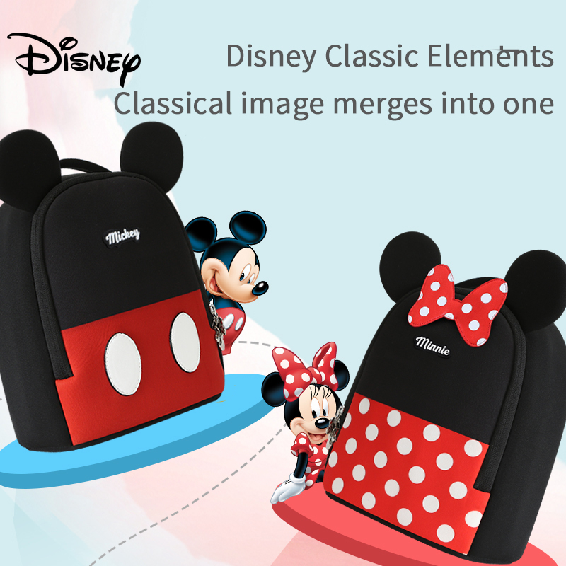 Disney Baby Mickey Backpack Fashion Toddler Anti Lost Backpack  Baby Cartoon Pattern Children Schoolbag Kids Walking Leashes Bag