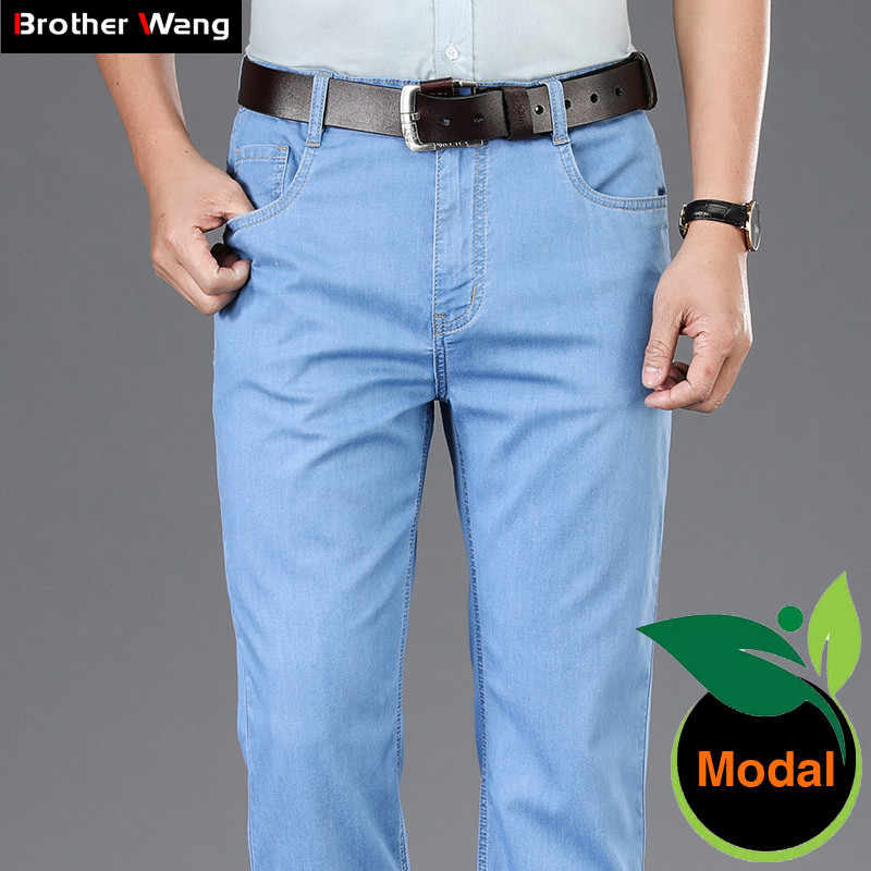 Summer Men's Light Blue Thin Jeans Modal Fabric High Quality Business Casual Stretch Jean Trousers Male Brand Pants Dark Grey