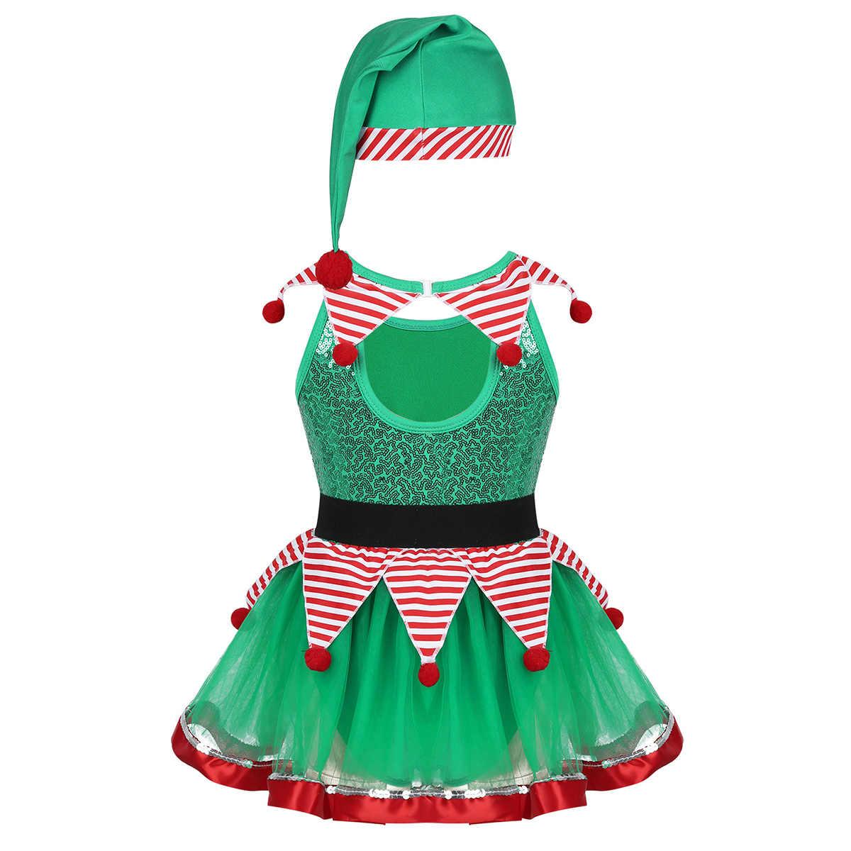 IEFiEL dla dzieci dziewczyny boże narodzenie bajki ducha Dancewear gimnastyka Ballroom Party kostiumy sceniczne w paski Tutu strój kąpielowy sukienka z kapelusz