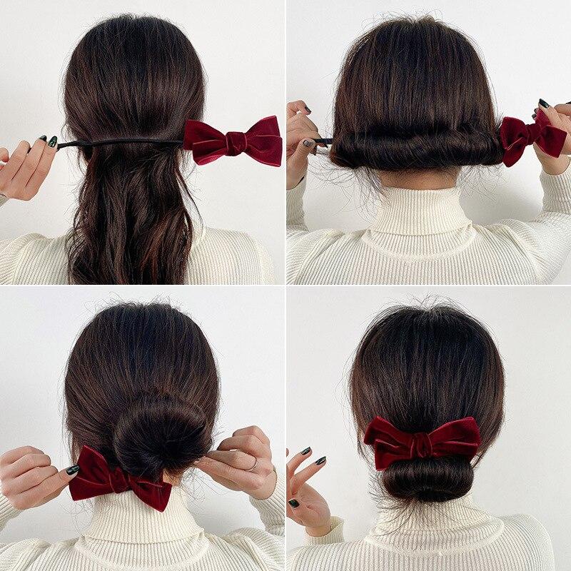 Новый бархатный бант, волшебные булочки для волос, заколка-пончик для волос, заколка для волос, бигуди, модная женская прическа «сделай сам» ...