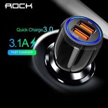 Автомобильное зарядное устройство ROCK, быстрая зарядка 3,0 QC 3,0, быстрая зарядка, Тип C, зарядное устройство для телефона s для huawei, Xiaomi, samsung, 2 порта, USB, быстрая зарядка для автомобиля