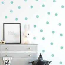 Autocollants muraux en aquarelle bleu vert à pois, cercles dessinés à la main, Stickers muraux pour chambre d'enfants, décoration de maison en PVC pour bébé