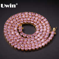 UWIN 4mm Pink Iced Cubic Zirconia Tennis Chains Gold Silver Color Necklace Colored Fashion Hiphop Jewelry