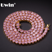UWIN 4mm Rosa Iced Zirkonia Tennis Ketten Gold Silber Farbe Halskette Farbige Mode Hiphop Schmuck