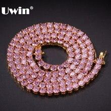 UWIN 4mm różowy mrożona cyrkonia tenis łańcuchy złoto srebro kolorowy naszyjnik kolorowe mody Hiphop biżuteria