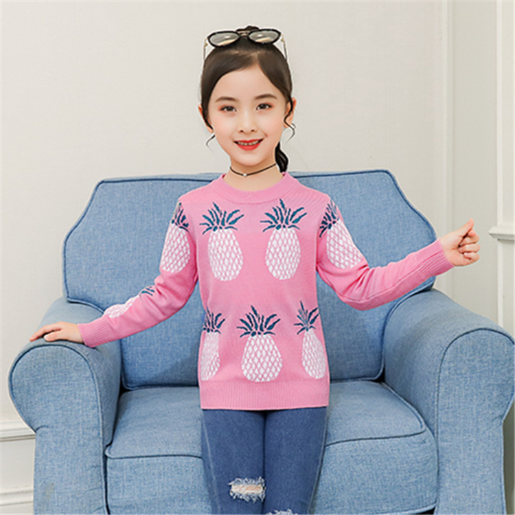 Girl'S Sweater 2019 New Style Children Double Layer Pullover Knit Low Waist Jersey Autumn Clothing Korean-style GIRL'S Childrens