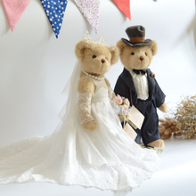 A pair Full joint movable teddy bear plush toy stuffed animals White Wedding dress dolls Valentine Wedding gift Window display