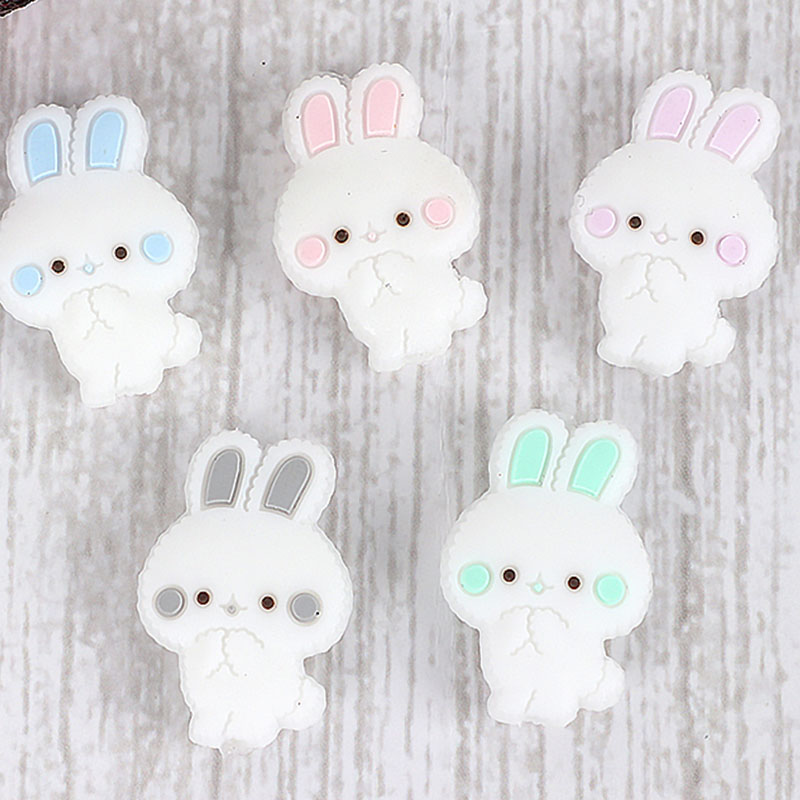 10pc Mini Rabbit Silicone Beads Chew Necklace Teething Beads BPA FREE Silicone Baby Teether