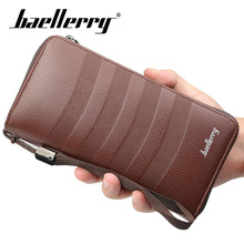 Baellerry Wallet Men Business Stripe Long PU Leather Zipper Rope Clutch Bag Note Compartment Smartphone Holder