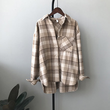 Spring Autumn New Retro Casual Thick Plaid Shirt Women Korean Style Loose Warm Long-Sleeved Top