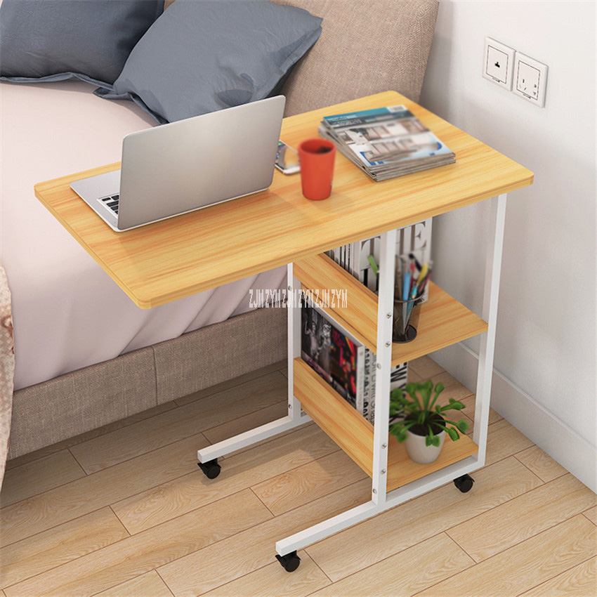 Pressboard Steel Frame Side Table Simple Lazy Movable Notebook Computer Table Small 2-Layer Mobile Laptop Desk With Pulley
