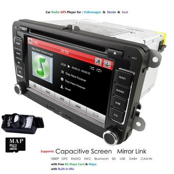 SD SWC Car Multimedia player GPS 2 Din Autoradio For VW/POLO/PASSAT b6/golf 5/Skoda/Octavia/SEAT/LEON radio dvd automotivo DAB image
