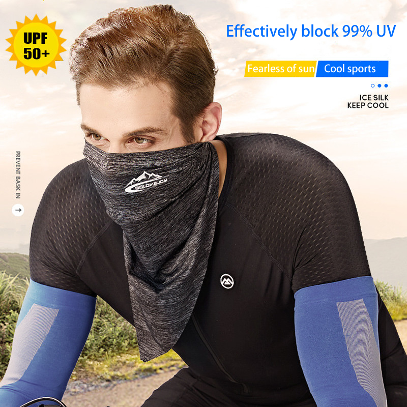 UPF50+ Triangle Scarf Cooling Traceless Half Face Mask Men Women Face Shield Bandanas for Summer Outdoor Sport Cycling Hiking 6