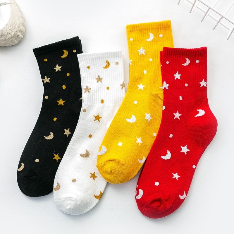 Women Colorful  Moon Star Patterned Cotton Socks Original  Casual Joker For Ladies Youthful College Style Joker Sox Trendy