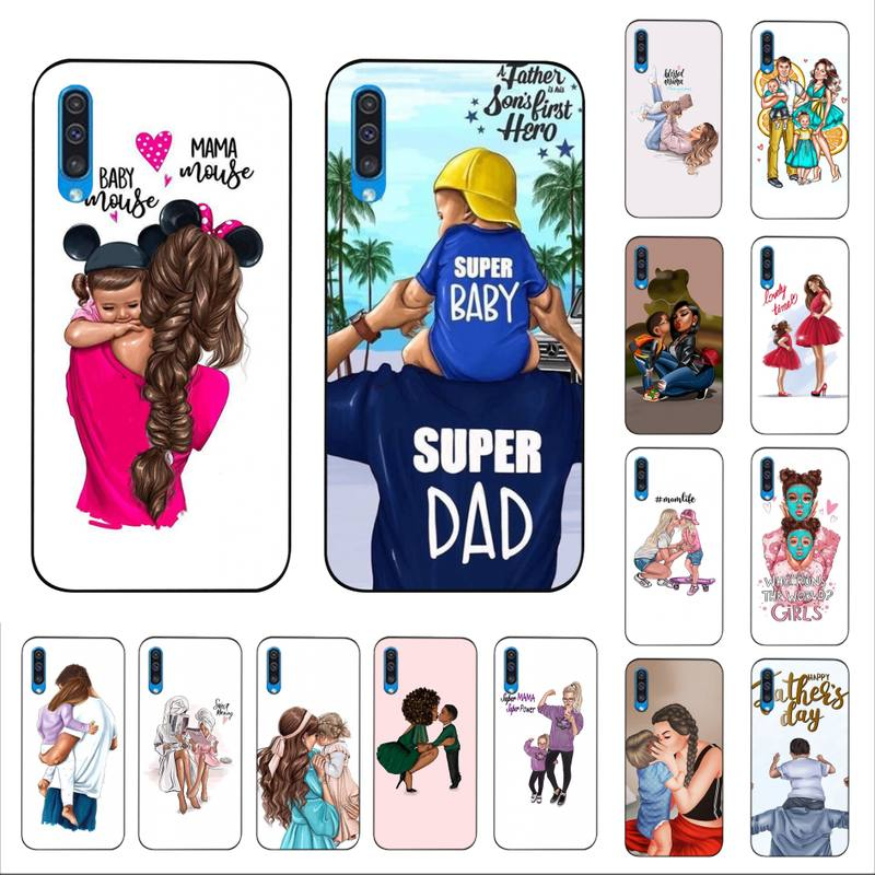 YNDFCNB siyah kahverengi saç bebek anne kızı kız Son baba telefon kılıfı için Samsung A30s 51 5 71 70 40 10 20 s 31 A7 A8 2018