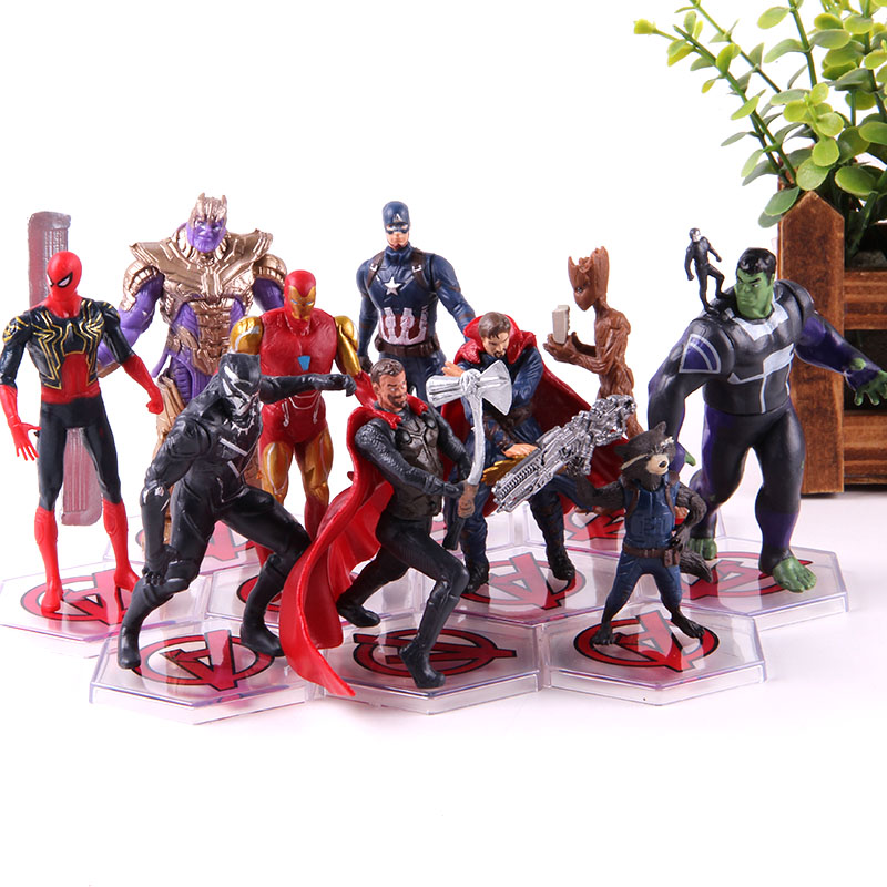 Endgame Thanos Doctor Strange Thor Captian America Spiderman Tree Man Rocket Iron Man Marvel Action Figures PVC Toys 10pcs/setAction & Toy Figures
