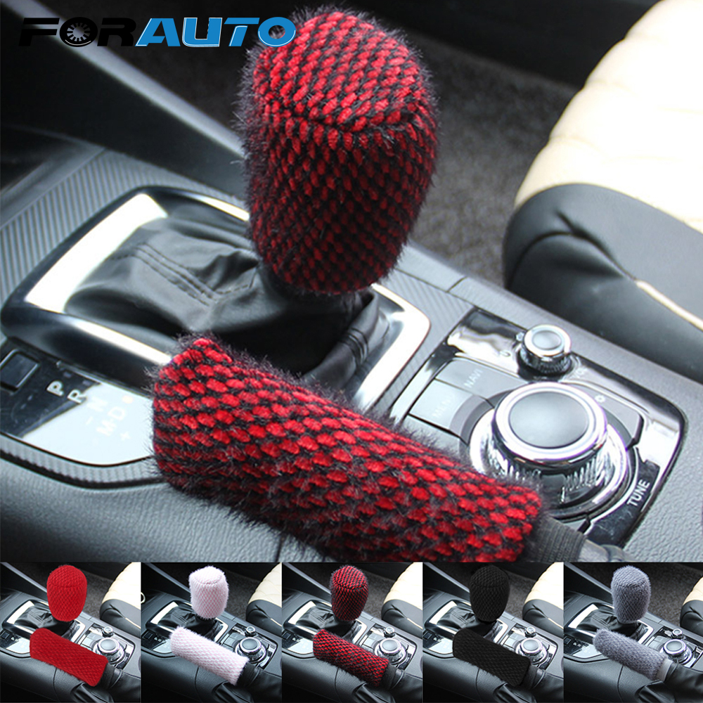 FORAUTO 2pcs/set Handbrake Grips Universal Car Handbrake Covers Sleeve Winter Warm Car-styling Hand Brake Gear Shift Knob Cover