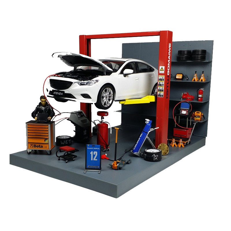 1:18 Car Model Repair Scene Simulation Decoration Diecast Alloy Lift Elevator Vehicle Toy Accessories Fans Gift Collection Shows