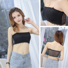 Women Versatile Sleeveless Lace Cotton Off Shoulder Slim Solid Color Sexy Strap Top Tube Solid color White/Black Female simple solid color off the shoulder top for women