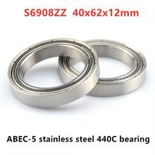 10 шт. ABEC-5 S6908ZZ S6908-2Z 40*62*12 мм нержавеющая сталь 440C глубокий шаровой подшипник 6908 40x62x12 мм