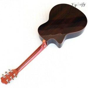 Image 2 - Di alta qualità di acero fiamma top spaccato design elettrico chitarra acustica di alta gloss 6 stringa chitarra folk con EQ funzione di sintonizzatore