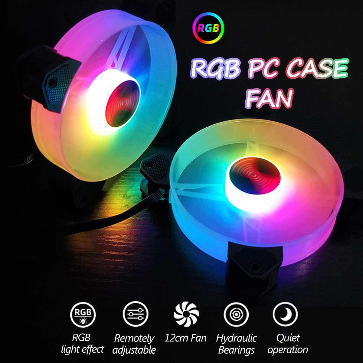 Forgiven Computer Cooling Fan 3PCS 120mm Adjustable RGB LED Light Computer Case PC Cooling Fan with Remote Color : Gray, Size : One Size