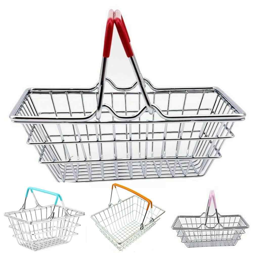 Kids Pretend Toy Miniature Metal Simulation Supermarket Shopping Basket Desktop Storage Toy Gift Dollhouse Furniture Accessories