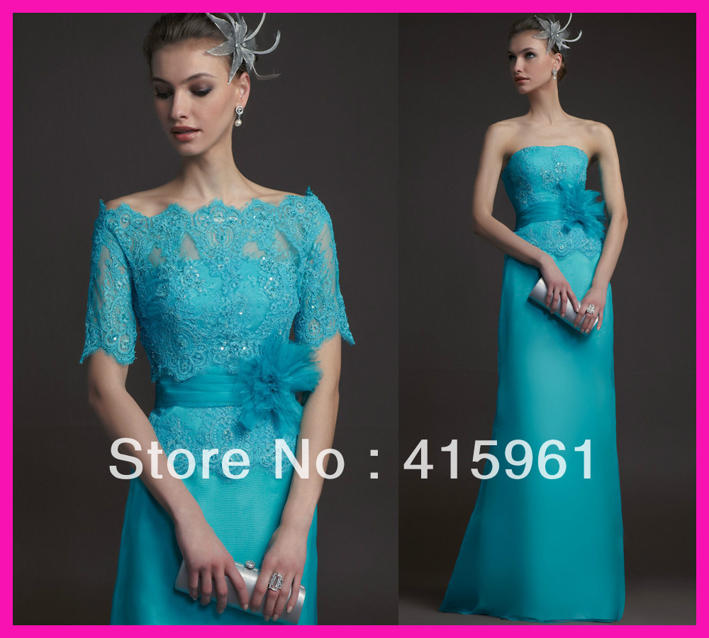 Vestido De Madrinha 2019 Vintage Turquoise Lace Chiffon Mother Of The Bride Dresses With Jacket Evening Dress For Weddings