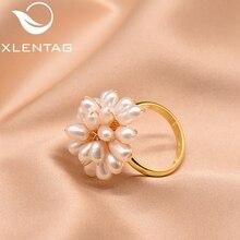 XlentAg 925 Sterling Silver Natural Fresh Water White Pearl Heart Shape Ring For Women Wedding Fine Jewelry bijoux femme GR0235