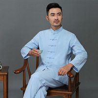 Spring And Summer Middle aged Chinese Costume Men Long sleeve Suit Stand Collar Daddy Clothes Chinese style Chinese Style Large