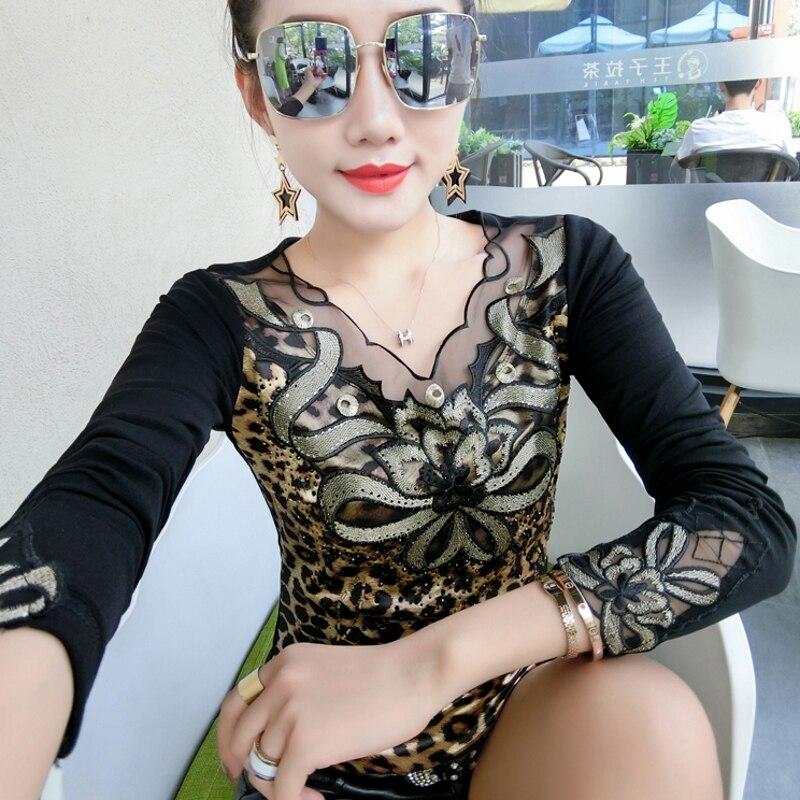Fashion Sexy Patchwork Diamonds Leopard Print Tshirt 2019 New Autumn Winter Women Top Shirt Clothes Camiseta Mujer Black T98815
