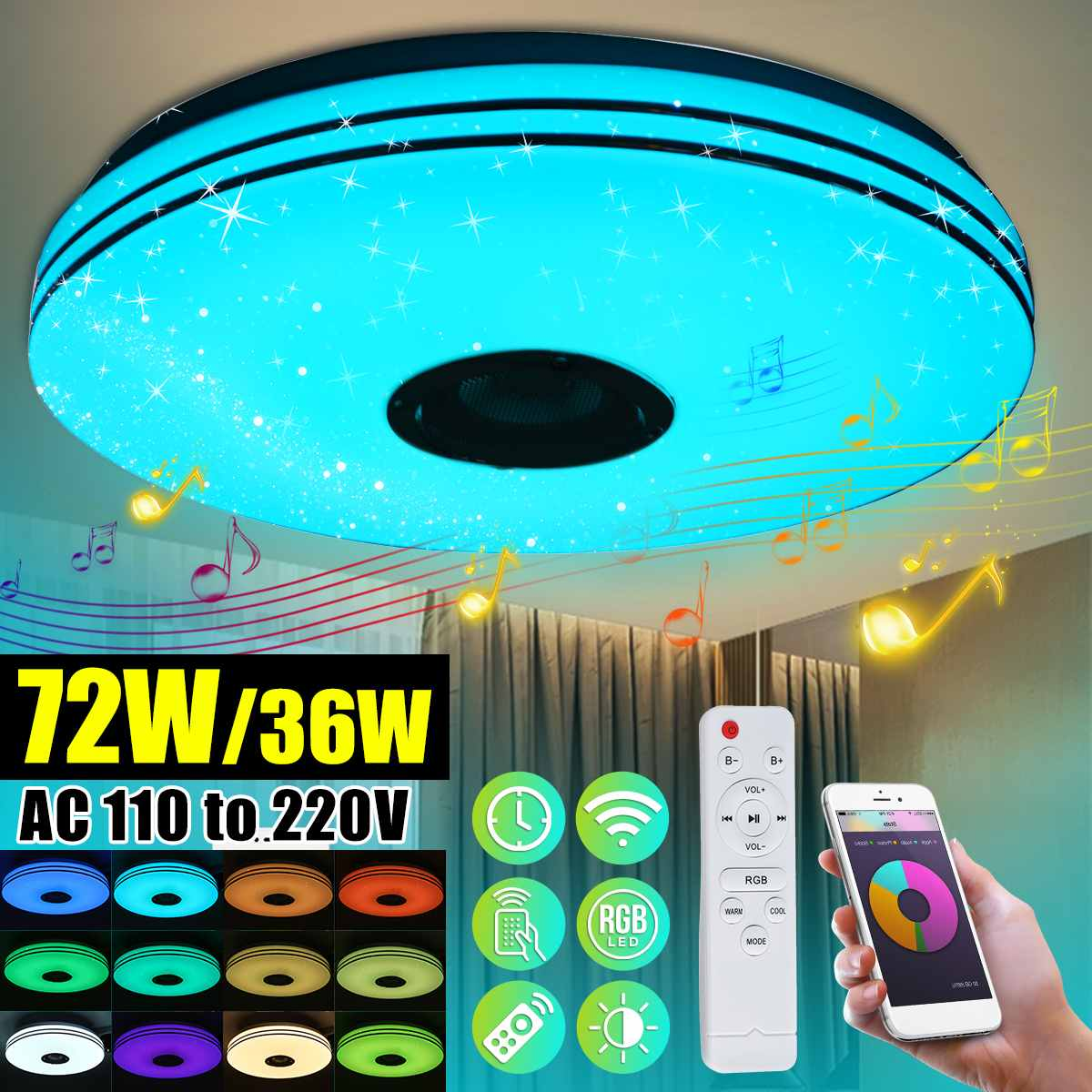Modern LED Ceiling Lights Dimmable RGB Music Bluetooth Lamp For Livingroom 36/72W APP Control Remote Control 110V/220V