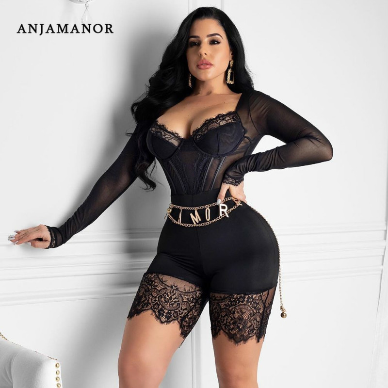 ANJAMANOR Fashion Sexy Rompers Womens Jumpsuit Clubwear Lace Mesh See Through Long Sleeve Bodycon Playsuit Onesie Shorts D36AA23