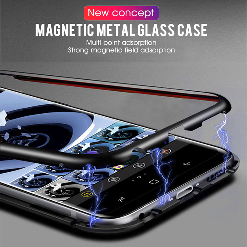 Metal Magnetic Glass <font><b>Case</b></font> For <font><b>Samsung</b></font> <font><b>Galaxy</b></font> A50 A70 A40 A30 <font><b>A20</b></font> A10 A60 J4 J6 plus A7 A9 2018 temered glass <font><b>shockproof</b></font> <font><b>case</b></font> image