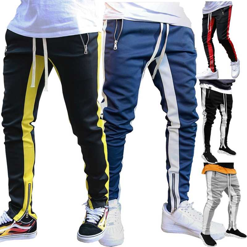 2019 Jogging Pants Men Running Pants With Zipper Sports Fitness Tights Gym Jogger Bodybuilding Sweatpants Sport Male Trousers