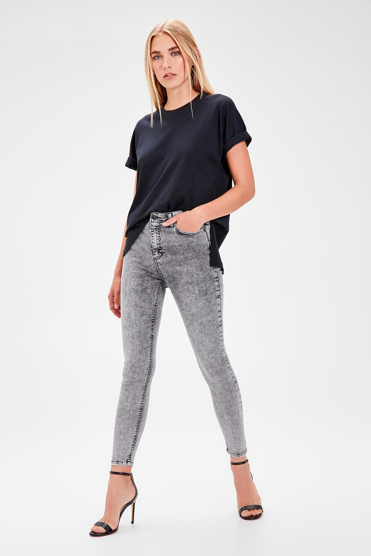 Trendyol Anthracite-Flushing High Waist Skinny Jeans TWOAW20JE0065