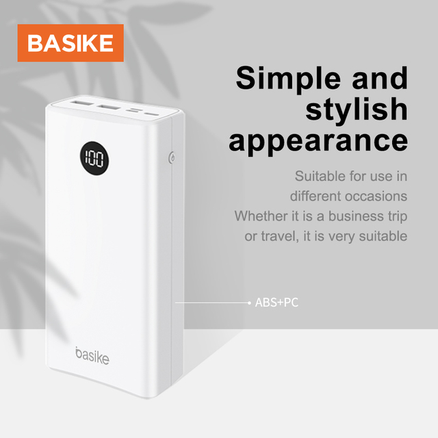 BASIKE Portable Power Bank 20000mAh Powerbank External Battery Phone Charger Spare Battery Mobile Phone Accessories Smartphones 4