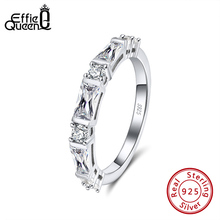 Effie Queen Elegant Engagement Rings 925 Silver with 9pcs  Crystal Stone AAAA Zircon  Jewelry wedding Party Gift DSR183
